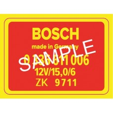 Bosch RPM Transducer decal for 911 / 914-6 1969-1971 RED