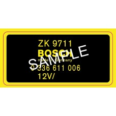 Bosch RPM Transducer decal for 911 / 914-6 1969-1971